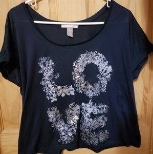 🌸 Navy blue 'Love' Floral Crop Top